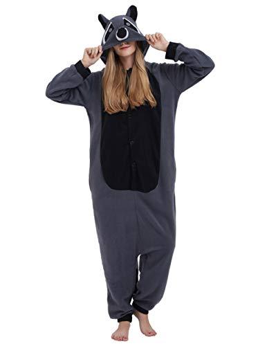 Jumpsuit Onesie Tier Karton Fasching Halloween Kostüm Lounge Sleepsuit Cosplay Overall Pyjama Schlafanzug Erwachsene Unisex Grau Waschbär for Höhe 140-187CM