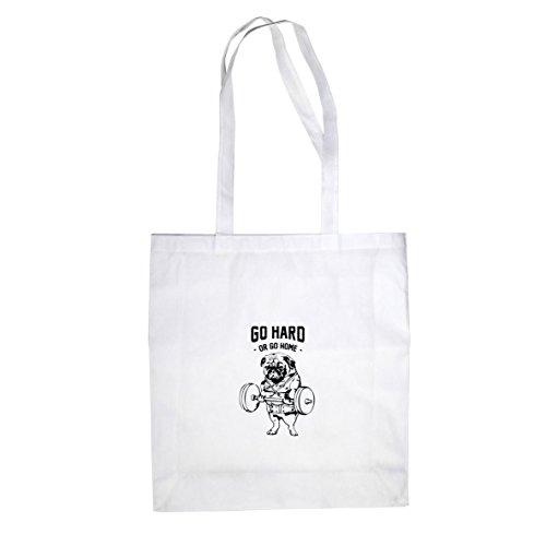 Go Hard Mops - Stofftasche / Beutel Weiß