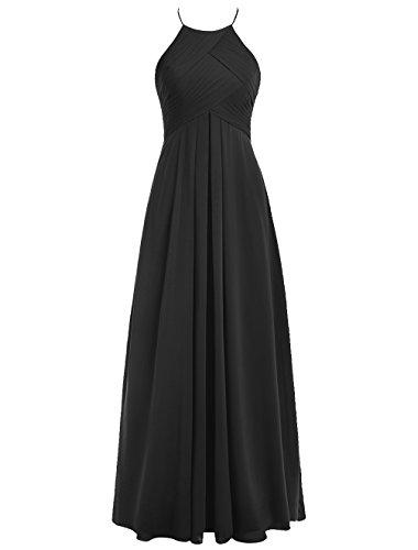 Dresstells Robe de cérémonie Robe de demoiselle d'honneur forme empire longueur ras du sol Noir