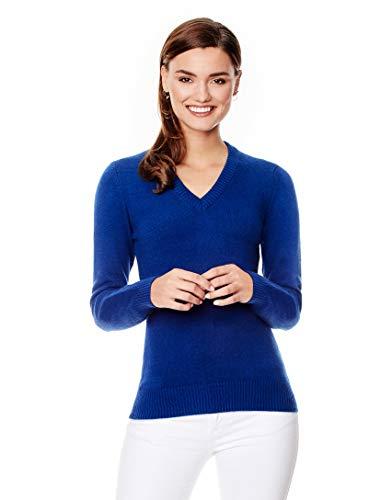 Vincenzo Boretti Damen Pullover V-Ausschnitt V-Neck modern elegant Chick edel weich Strick-Pullover blau XS
