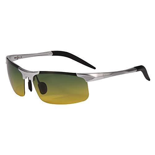 Goyajun Reiten Sonnenbrillen Polarisierte Gläser UV Schutz Im Freien Sport Fahren Camping Golf Brille Quadrat Brillen Herren (Silber)
