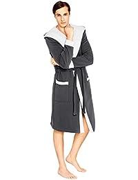 Wanmar Company Peignoir/robe de chambre avec ceinture et capuche Matière douce Homme Mi-long