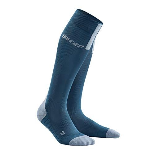 CEP - Run Socks 3.0 für Herren | Kompressionsstrumpf mit präzisem Druckverlaufin blau/grau | Größe IV
