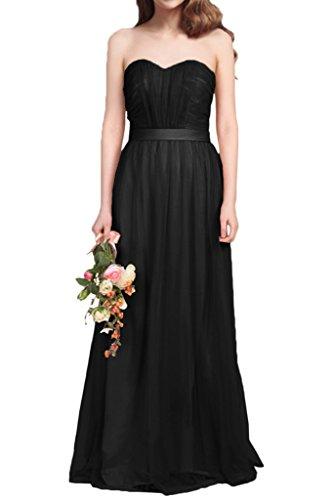 Milano Bride Damen Huesch Suess Traegerlos Lang Tuell Abendkleider Festkleider Brautjungferinkleider Faltenwurf Schwarz