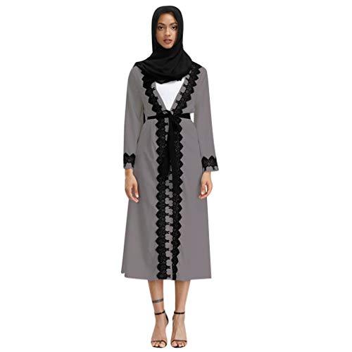 Lazzboy Frauen Muslimischen V-Ausschnitt Langarm Arabischen Langes Kleid Damen Muslim Abaya Dubai Muslimische Kleidung Arab Arabisch Abendkleid Hochzeit Kaftan(Grau,XL)
