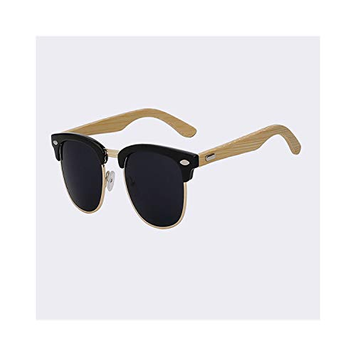 Sport-Sonnenbrillen, Vintage Sonnenbrillen, Half Metal Bamboo Sunglasses Men Women Glasses Mirror Sun Glasses Fashion Gafas Oculos De Sol UV400 Gloss black frame