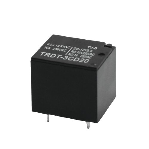 12 VDC Rating Coil 5pin PCB Plug-in Typ Mini Power Relay Schwarz -