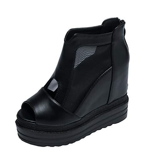 YAN Women es Platform Shoes Summer New PU Fashion Peep Toe Sandals Wedges Ladies Boots Super High Heels Party Evening,Black,39 Super Platform High Heel Schuh