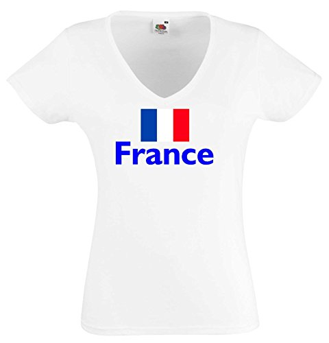 world-of-shirt Damen T-Shirt France / Frankreich Trikot weiß S (Frankreich Trikot Wm 2014)