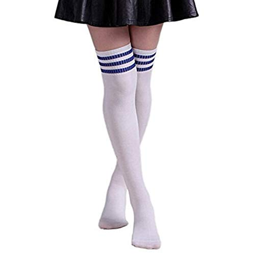 Butterme Frau Mädchen Über den Knie Extra Lang Fußball Rugby Socks Strümpfe Sport Tights mit Klassik Dreibettzimmer Stripes Cosplay Socken (Weiß+Blau) (Knie Hohe Damen Kostüm)