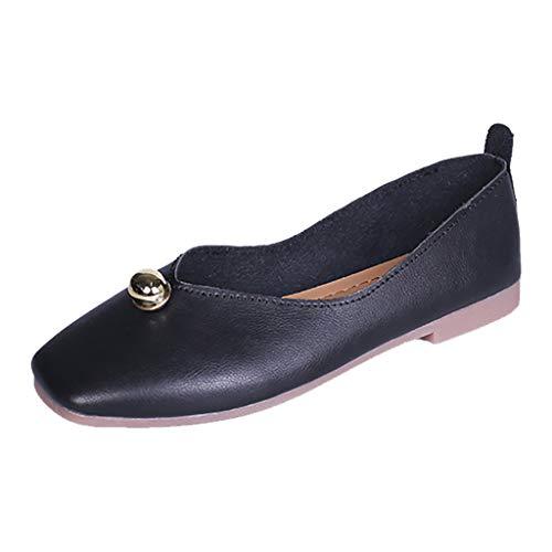✿Eaylis Damen Sandalen Joker Flachen Mund Flach Flache Schuhe Faul Schuhe Quadratischen Kopf Einzelne Schuhe Sommer Strand Schuhe Hausschuhe Stilvoll und elegant