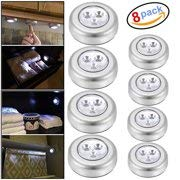Evaluemart Battery Powered Round White 3 LEDs Stick Tap Touch Lamp Night Light (Set of 8)