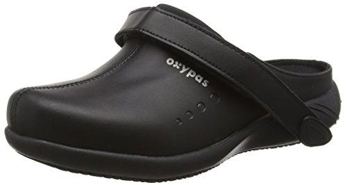 Oxypas Move Doria Slip-resistant, Antistatic Leather Nursing Clogs with Coolmax Lining, 5.5 UK (39 EU) Nero (Nero)