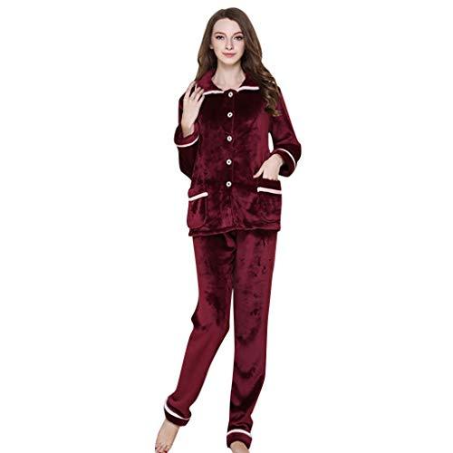 conqueror Ensemble de Chemise de Nuit en Coton pour Femmes Casual Nights Sleepwear Suit Pyjama Femmes en Coton à Col Rond Manche Longue Vêtements de Nuit Chaud pour Toutes Les Saisons