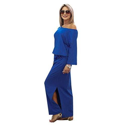 BHYDRY Frauen-Sommer-langes Maxi Boho-Abend-Party-Kleid mit Tasche(X-Large,Blau)