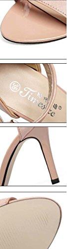 SHEO sandales à talons hauts Chaussures à talons hauts sandales fines sandales ( Couleur : Noir , taille : 38 ) Rose