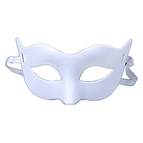 jingyuu 1 Stück Kunststoff Maske Maskerade Faschingsmasken Maskenball Maske zum Frauen Mann Kostümball Masquerade Weihnachten Halloween Cosplay Partei-Weiß