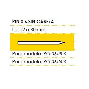 Kivec MCPIN0.6-30 - PIN 0.6 sin cabeza Largo 30 mm Caja de 6,5 Millares