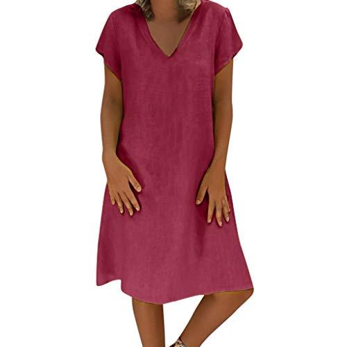 EUCoo Damen Leinen Kleid Sommer tropischen Stil Volltonfarbe V-Ausschnitt beiläufige lose Hemdkleid(Rot, XXL)