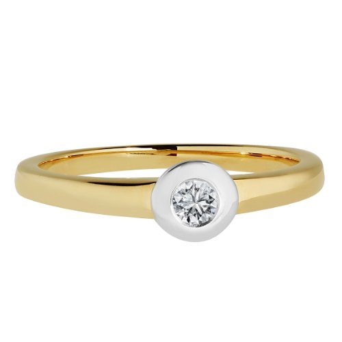 Diamond Line Damen – Ring 585er Gold 1 Diamant, gelbgold - 2