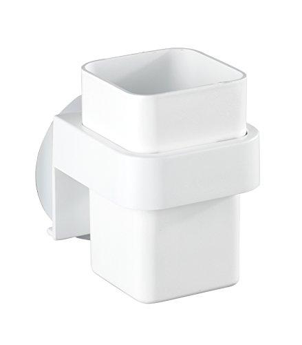 WENKO 22262900 Static-Loc Zahnputzbecher Osimo Weiß - Zahnbürstenhalter, Befestigen ohne bohren, Polypropylen, 8 x 10.5 x 9.5 cm, Weiß