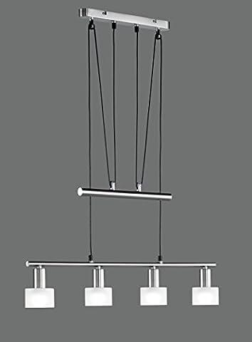 Khl LED Pendelleuchte 4x4W hell höhenverstellbar 82 - 180 cm New York 3000k 74cm nickel matt / Glas weiß 16