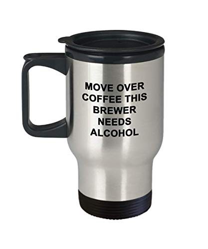 Stainless Steel 14 oz Travel Mug, Brewer Travel Coffee Mug Funny Unique Alcohol Best Novelty Gift Idea Cup For Him Her Brew Brewing Beer Malt Fermentation -