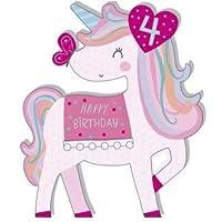 Girls 4TH Birthday Card - Unicorn - Foil and Pom Finish (Ukg-619337)