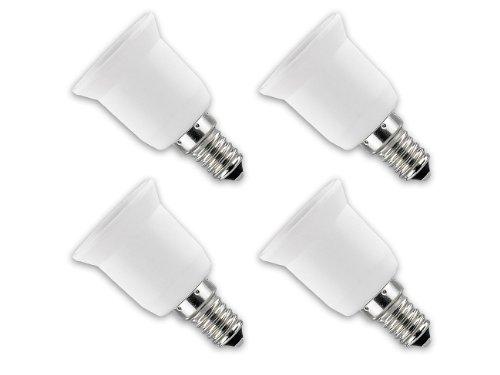 Preisvergleich Produktbild Lunartec Lampenfassung: Lampensockel-Adapter E14 auf E27, 4er-Set (Lampenfassung Adapter)