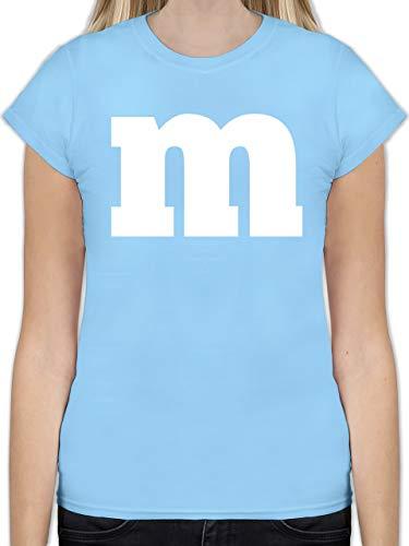 Karneval & Fasching - Gruppen-Kostüm m Aufdruck - XXL - Hellblau - L191 - Tailliertes Tshirt für Damen und Frauen T-Shirt