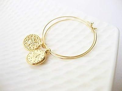Créoles mini médaillon antique dorés à l'or fin