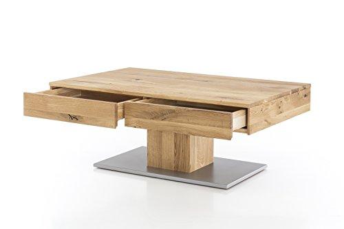 Massivholz Couchtisch rechteckig aus Wildeiche, geölter Wohnzimmer-Tisch, Beistelltisch inkl. Schublade, Tisch 110 x 75 cm