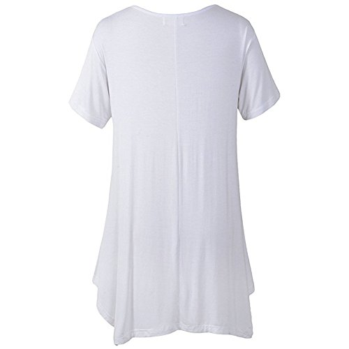iBaste Damen Kurzarm Asymmetrisch Hem Tunika Tops T-Shirt Stretch Longshirt Einfarbig-Weiß