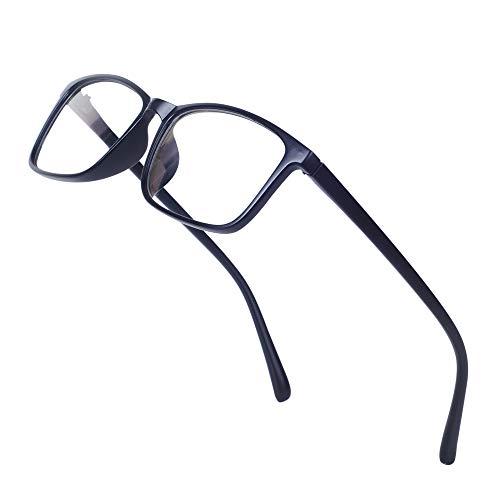 JoXiGo Nerd Brille Damen Herren Ohne Stärke Rechteckig Rahmen Klar Linse Brillenfassung mit Etui - Matt Schwarz