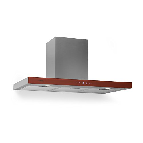 Klarstein Bon Vivant • Campana extractora • Capacidad de absorción de 650 m³/h, 230 W de Potencia, silencioso, Panel de Control táctil, 3 Niveles de Intensidad, montado en Pared • Rojo