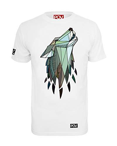 POV Cooles Herren T-Shirt Polygon Wolf (Weiß, -