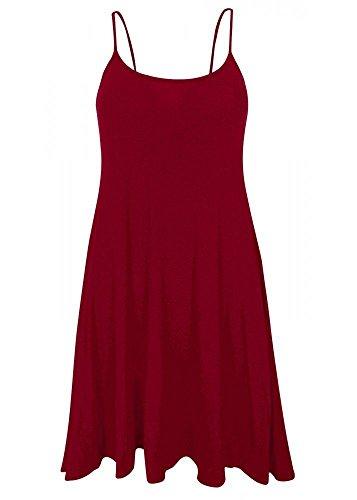 Femmes Long Caraco Uni Gilet Robe Chasuble Swing Haut Évasé imprimé 8-26 Bordeaux