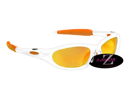 Rayzor Professionelle Leichte UV400 Weiß Sports Wrap Schifahren Sonnenbrille, mit einem Gold Iridium Mirrored Blend Lens.