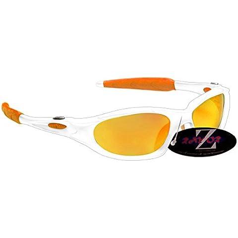 RayZor - Occhiali da sole leggeri UV400, sportivi, Wrap Golf, con lente unica a specchio (Ambra Specchio)