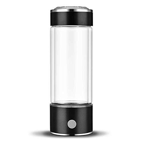 RESH Wasserstoff Reiches Wasser Flasche Tragbar Wasserstoffreiche Trinkflasche Anti Aging Antioxidans Wasser Maker Hersteller ionisierter Generator 450 ml (Schwarz)