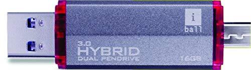 iBall Hybrid Dual 3.0 16 GB Dual USB Pen Drive  Black