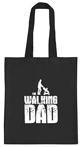 Vater Papa natur Jutebeutel Stoffbeutel mit Walking Dad Motiv von ShirtStreet schwarz natur