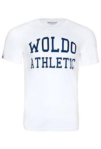 WOLDO Athletic I T-Shirt Herren I Rundhals-Ausschnitt  I Kurzarm I Regular-Fit I T Shirt, Weiß, L - Nike-athletic-t-shirt
