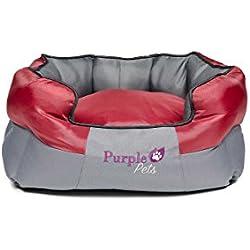 Purple-Pets Tradicional Cama para perro, Cama para Gato, Cama de Mascota, Fácil limpieza (pequeña, Rojo)
