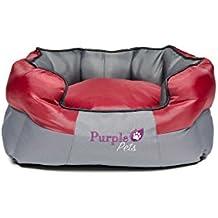 Purple-Pets Cuccia Letto per Cani Tradizionale, Cuccia Gatto, Morbido, Ovale, Base comoda, Facile da pulire! (Piccolo, Rosso, con base Grigio)