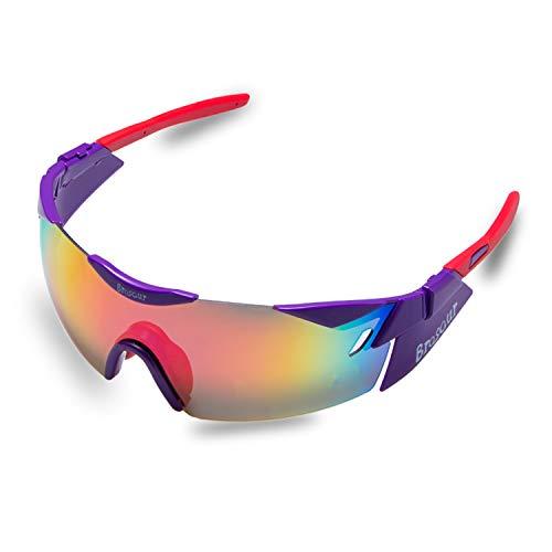 BRZSACR Sport-Sonnenbrille mit austauschbaren Lenes für Männer Frauen Radfahren Laufen Fahren Angeln Golf Baseball Brillen (3-Farben-Wechselobjektiv) (Lila)