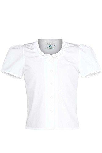 Isar-Trachten Mädchen Kinder Trachten-Bluse schlicht Weiss, WEIß, 104