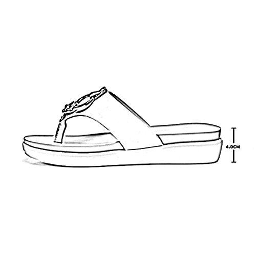 PENGFEI sandali delle donne Pantofole da spiaggia estate Pantofola antiscivolo Pieghe a forma di sandali femminili Bianco e nero Confortevole e traspirante ( Colore : Bianca , dimensioni : EU37/UK4.5- Bianca