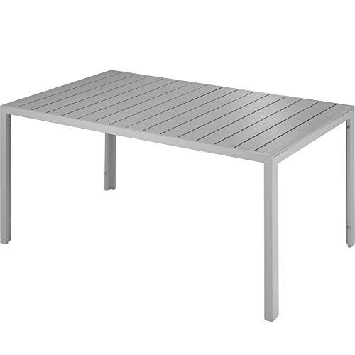 TecTake 800716 Gartentisch mit stabilem Aluminiumrahmen, Holzoptik, Zwei höhenverstellbare Füße, belastbare Tischoberfläche, pflegeleicht, 150 x 90 x 74,5 cm - Diverse Farben - (Silber | Nr. 403297)