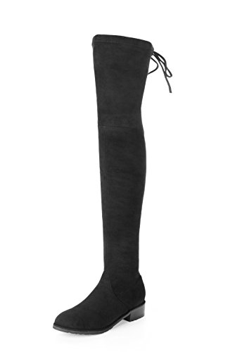 MIUINCY Thigh High Boots Women Fashion Snow Boots Stretch Fabric Over The Knee Boots Sexy Womens Winter Boots Black Shoes Woman (37 EU, Black-zipper) (High Boot Knee Winter)